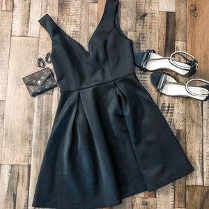 Forever 21 Black Deep V Fit and Flare Dress LBD
